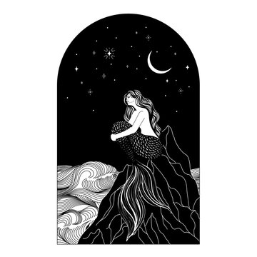A mermaid sits on the seashore, against the background of a dark sky with stars and the moon. Sketch hand drawing contour line art vector illustration.