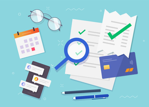 Accounting office concept vector flat lay table working desk top view illustration, financial audit research of salary wages document reports, tax money payment investigation analysis design