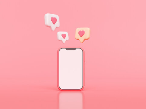 Like notification icon on smartphone , Social media notification icon with heart symbol on pink background. 3d illustration