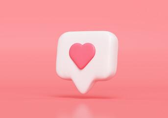 Fototapeta Like notification icon, Social media notification icon with heart symbol on pink background. 3d illustration obraz
