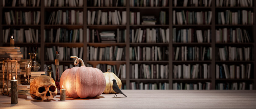 the wizard's room with library, old books, pumpkins, potion, and scary things 3d render 3d illustration