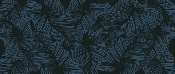 Luxury leaf art deco wallpaper. Nature background vector. Floral pattern with tropical plant line art on trendy color background. Vector illustration. - fototapety na wymiar