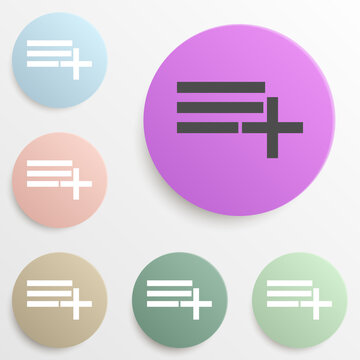 add playlist badge color set. Simple glyph, flat vector of web icons for ui and ux, website or mobile application