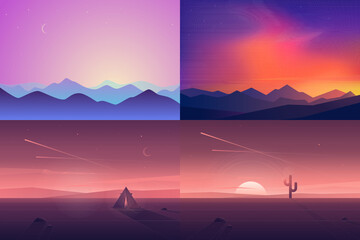 Vector banners set with polygonal landscape illustrations