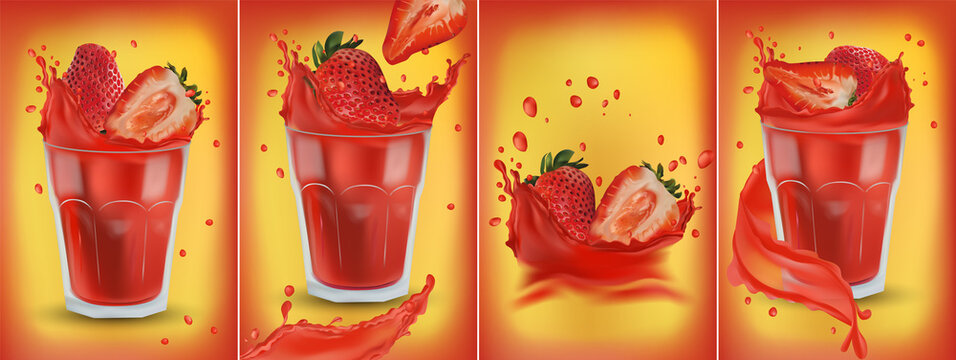 Fresh realistic strawberries fall into a glass with fresh juice. Fresh strawberry juice in splashes and drops. Set of 4 varieties of strawberries in a splash. 3D vector illustration for your banner.