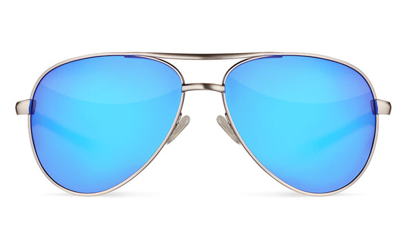 Aviators sunglasses with blue lenses isolated on white