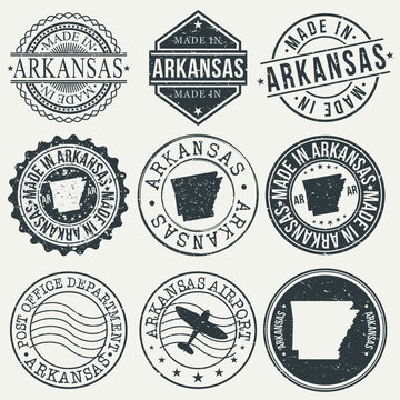 Arkansas Set of Stamps. Travel Stamp. Made In Product. Design Seals Old Style Insignia.