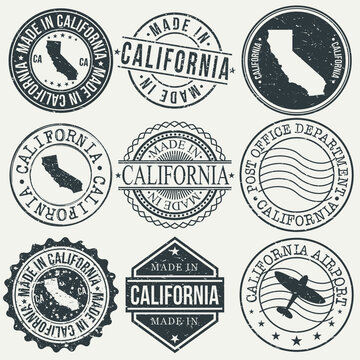 California Set of Stamps. Travel Stamp. Made In Product. Design Seals Old Style Insignia.
