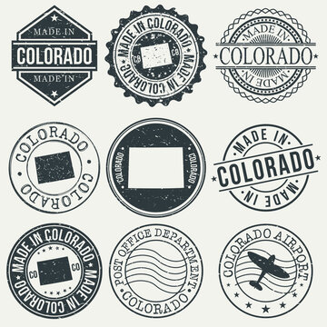 Colorado Set of Stamps. Travel Stamp. Made In Product. Design Seals Old Style Insignia.