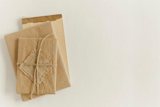 Kraft Paper Wrapped Parcel Twine Tied Bundle