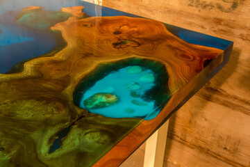 beautiful wooden table made of elm slab and epoxy resin