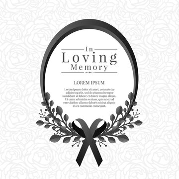 In loving memory text in Oval frame with leaf bouquets and black ribbon on abstract rose texture background