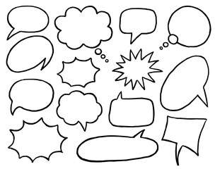 Speech bubble. Black and white simple speech bubble cloud, balloon, text box in circle and square shape set. Empty blank frame collection. Dialog design element. Speaking and communication contour