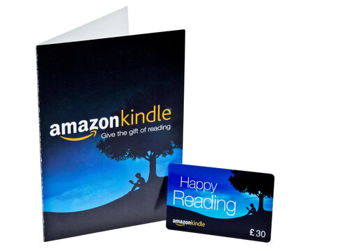 London, England - February 17, 2013: Amazon Kindle Gift Voucher for purchases at their online stores