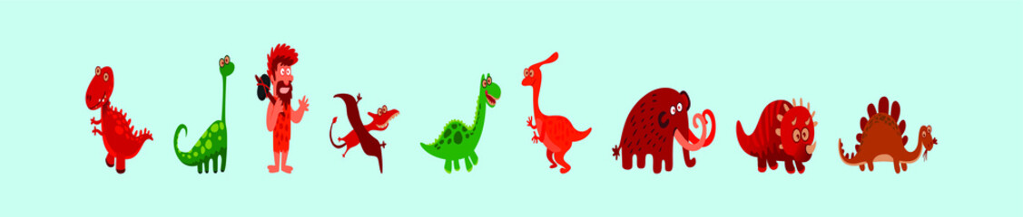 set of dinosaurs and caveman cartoon icon design template with various models. vector illustration