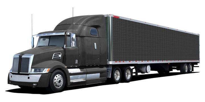 Large black American truck isolated on white background.