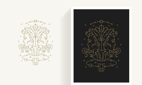 Zodiac gemini horoscope sign line art silhouette design vector illustration.