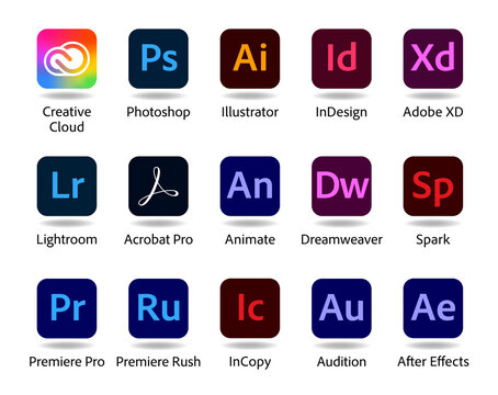 Set of popular Adobe apps icons: Creative Cloud, Photoshop, Illustrator, InDesign, Adobe XD and others