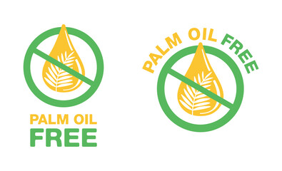 Palm oil free sign - crossed out palm branch - marking for unavailability of harmful food ingredient - isolated vector emblem
