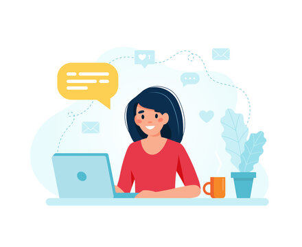 Online marketing specialist. Female character working with laptop. illustration in flat style