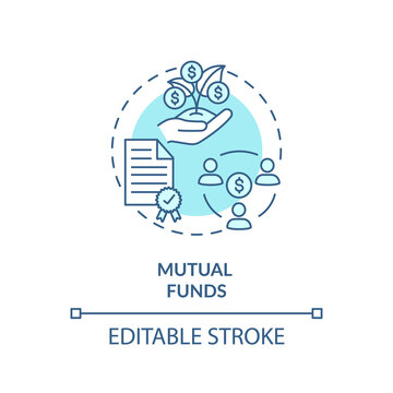 Mutual funds concept icon. Stock market trading, collective investment capital idea thin line illustration. Sharing common budget. Vector isolated outline RGB color drawing. Editable stroke