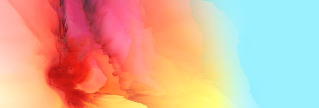 Digital Illustration. Color rainbow splash. Abstract horizontal background..