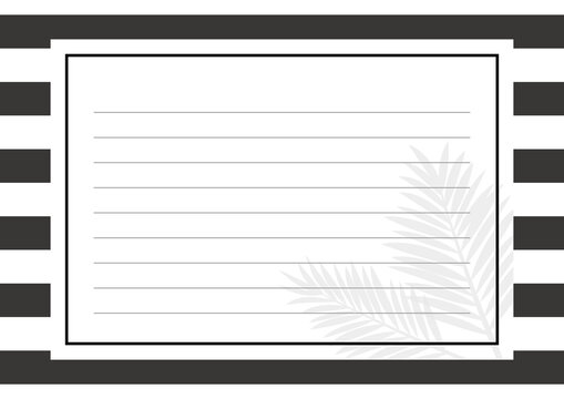 植物柄のモノトーンの便箋 背景素材