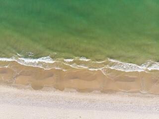 Aerial view white sand beach tropical sea shore