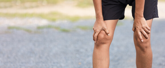 Sports woman with knee injury, Injury from workout concept