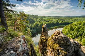 The epic landscape of the Ural nature on the river Chusovaya. The view from the top.