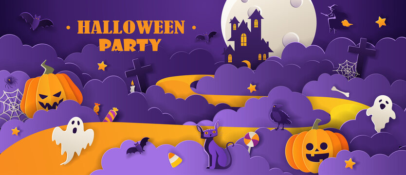 Halloween party invitation with haunted house