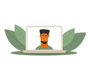 Video conference concept. Online call. Vector flat