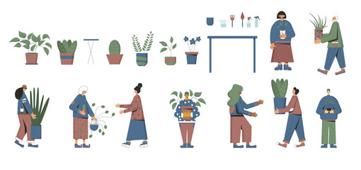 Plant lover. Man with indor flower pot. Vector