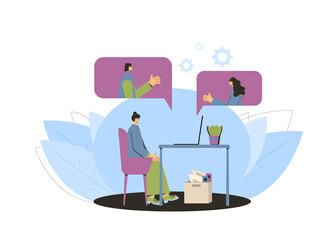 Work from home with laptop online Vector  flat.
