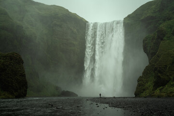 Skogafoss waterfall in South Iceland. Beautiful nature landscape