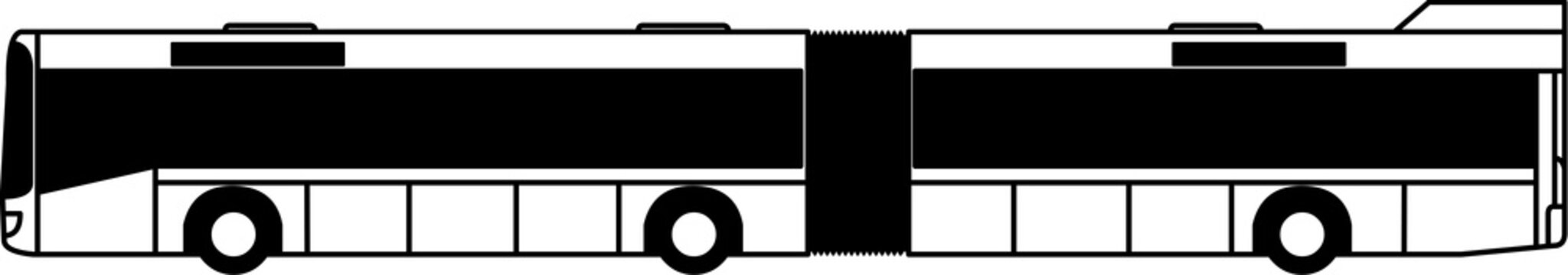 bus - articulated bus - city transport - city - transport - public transportation - icon - shape - silhouette - vector - monochrome - isolated - 6x2 - left side