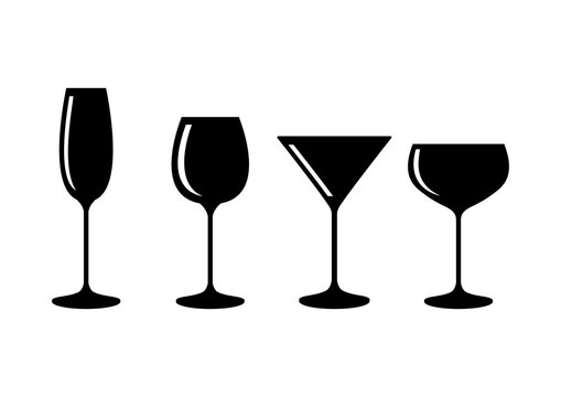 Different types of alcohol glasses icon vector. Champagne, wine, martini and other glasses icon set. Alcohol glasses icon isolated on white background. Alcoholic drinks black silhouette collection