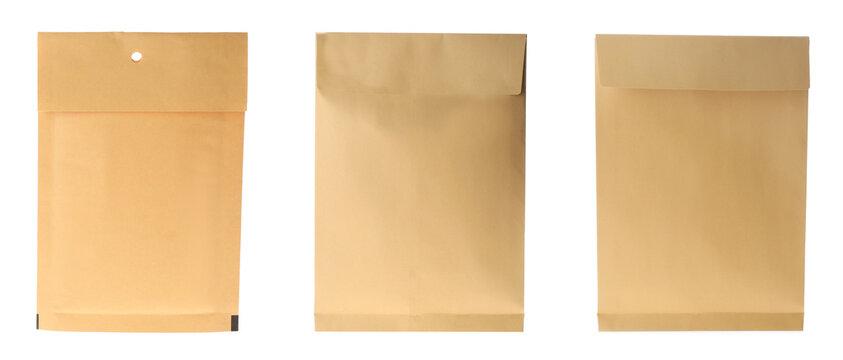 Set of paper envelopes isolated on white. Banner design