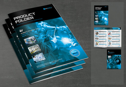Product Specification Sheet Layout with Blue and Black Design