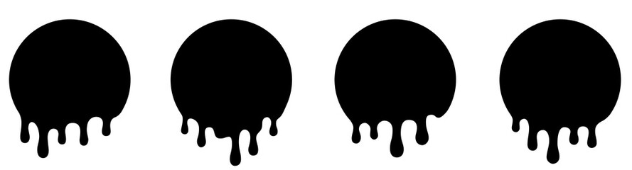 Set Current circle spot paint, stains or circle labels. Liquid drops icons. Dripping liquid or paint flows - stock vector.