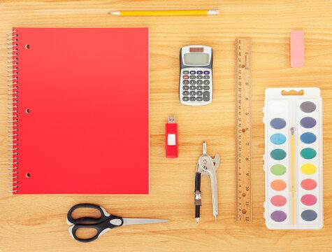 Supplies: Variety of School Supplies on Desk