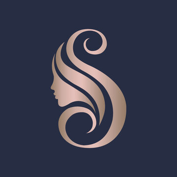 Letter S and woman portrait silhouette.Beauty and hair salon logo.Lettering icon.Alphabet initial and profile view face.Long hair.Cosmetics and spa logo isolated on dark background.Rose gold color.