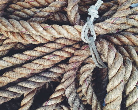Heavy brown rope tied in a bundle