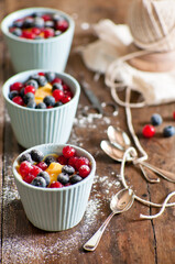 custard with currants and blueberries