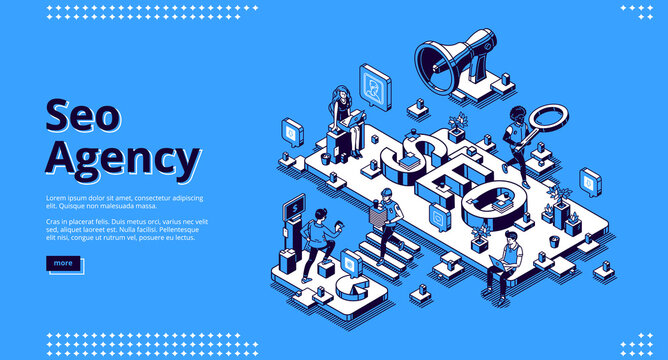 SEO agency banner. Service for promotion and advertising company in social media and web. Vector landing page of search engine optimization of content with isometric people, laptops and megaphone