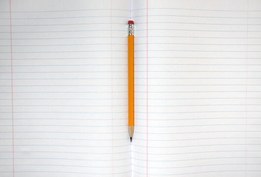 Pencil rests in the spine of a blank lined notebook