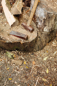 sledge and wedge for splitting logs