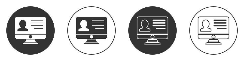 Black Computer monitor with resume icon isolated on white background. CV application. Searching professional staff. Analyzing personnel resume. Circle button. Vector.