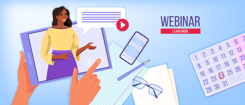 Digital webinar vector illustration with black woman tutor teaching online, tablet, smartphone, home workplace. Virtual conference or online business training concept. Webinar background in flat style