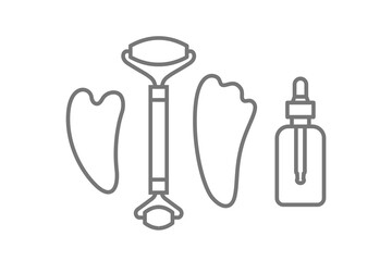 jade face roller and gua sha stone scraper, oil bottle icons
